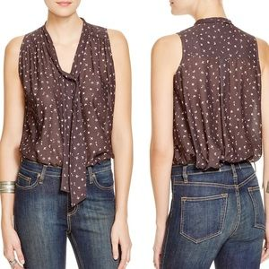 •Free People• Tie Neck Printed Blouse